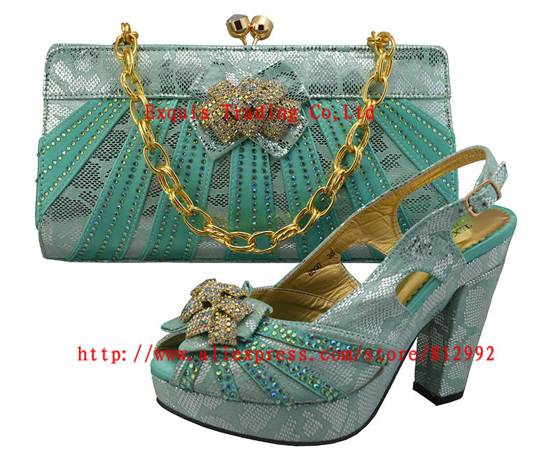 ФОТО FREE SHIPPING!Italian  Shoes With Matching Bag High Quality Italy Shoes And Bag For Evening  GF8006 water green  size 38-42