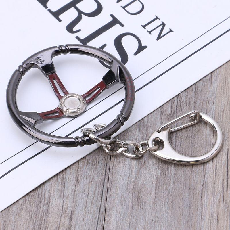 Popular jewelry Fashion Keychain keyRing Sleeve Bearing Auto Part Stainless Steel Car Steering Wheel Model Turbocharger