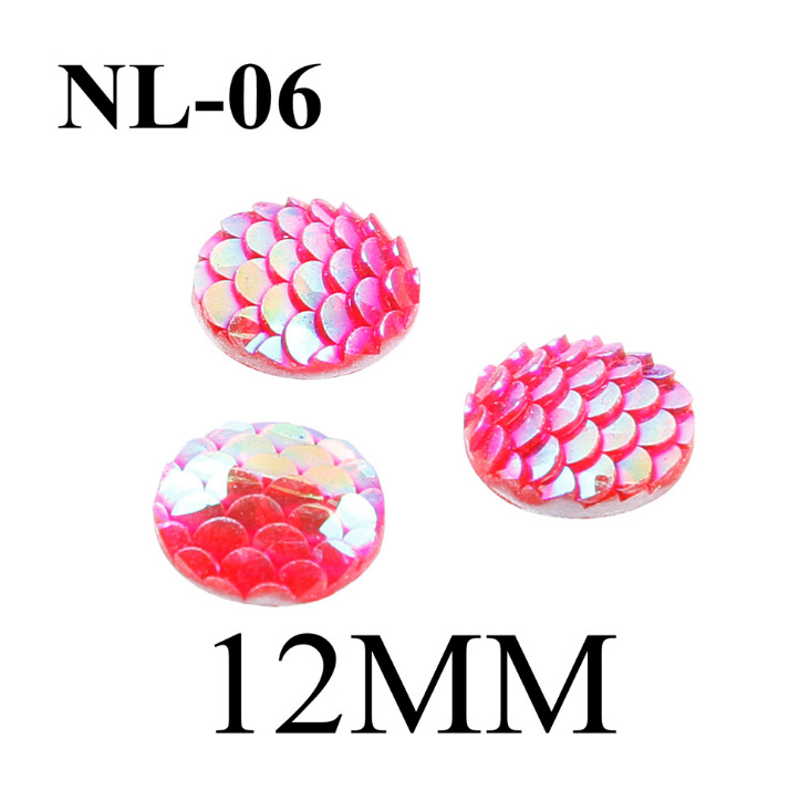 50pcs/lot 12mm mermaid cabochon dragon egg scales fish scale resin kawaii cabs iridescent deco earring findings jewelry supply