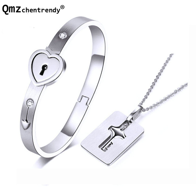 28a1b492d High quality Fashion Style Women Men Heart Lock Lovers Bracelets Key  Necklace and Lock Bracelet Couple Jewelry For Lover