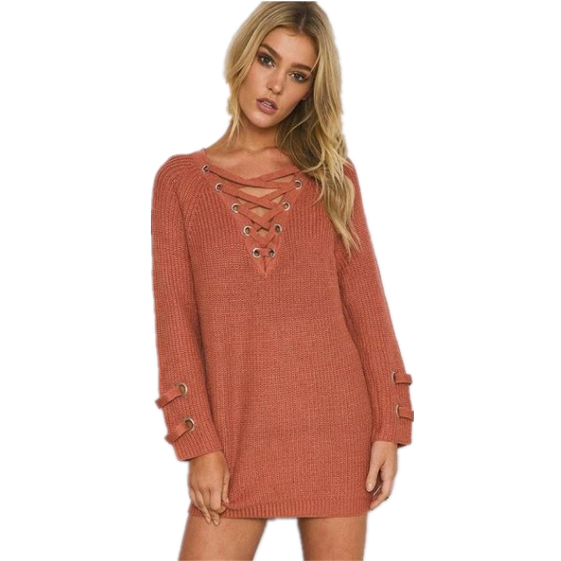 Sweaters Women Long Christmas Sweater Winter V-Neck Long Sleeve Lace-Up Solid Warm Women Sweater and Pullovers Pull femme