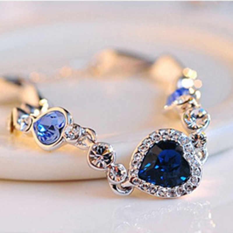 Moda sıcak kadın kalp kristal bilezikler kadınlar kızlar için okyanus mavi gümüş kaplama kristal kalp bilezik düğün takısı hediye