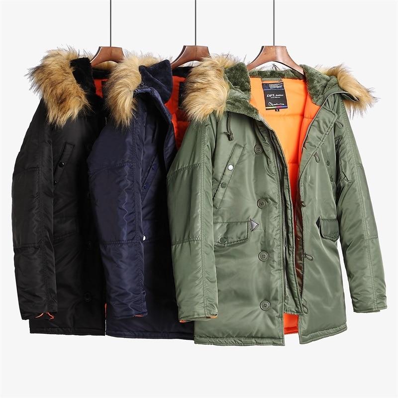 Erkek Kıyafeti'ten Parkalar'de N 3B kış ceket erkekler kürk hood slim fit kalın parka yastıklı askeri ceket soğuk hava için'da  Grup 3