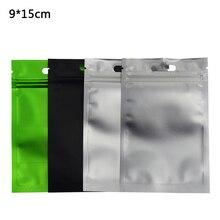 100pcs/lot 9*15cm Aluminum Foil Front Matte Clear Resealable Valve Zipper Plastic Bag Retail Packaging Ziplock Storage