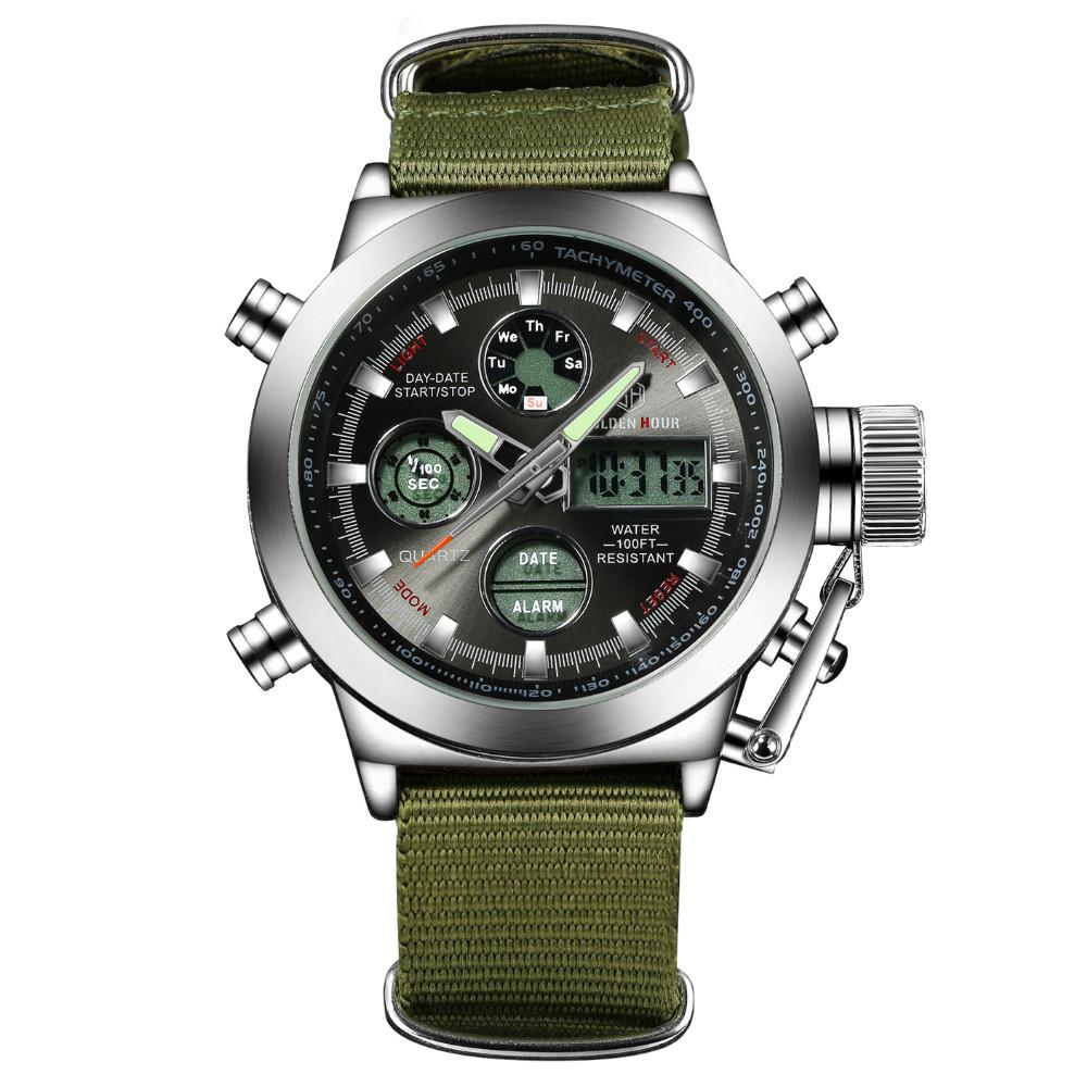 Golden Hour Fashion Army Men Military Digital Watch Canvas Strap