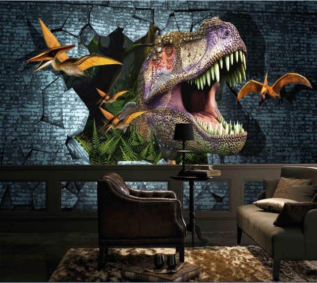 Buy new 3d dinosaurs wall mural wallpaper for Dinosaur mural wallpaper