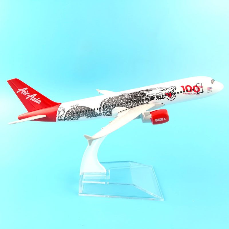 JASON TUTU 16cm Plane Model Airplane Model Air Asia Airbus 320 Aircraft Model 1:400 Diecast Metal Airplanes Plane Toy Gift