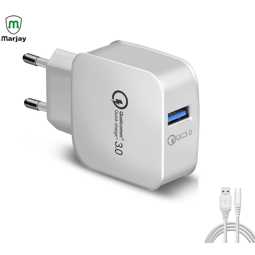 Marjay Quick Charge 3.0 USB EU Plug Charger Wall Travel 2.4A Fast Charger Adapter for Samsung Xiaomi Huawei Mobile Phone charger