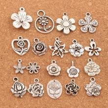 mix Flowers Charm Beads Metal Pendants 19PCS Tibetan Silver Findings Jewelry DIY LM55