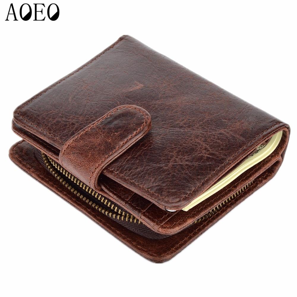 AOEO Wallet Men Genuine Leather Men Wallets Purse Short Luxury Carteira Masculina Zipper Card Holder Fashion Casual  Male Purses