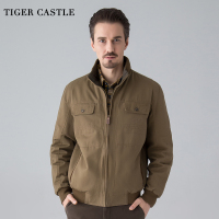 TIGER CASTLE Men Cotton Tactical Jacket Windbreakers Casual Male Both Sides Wear Pilot Jacket Mens Khaki