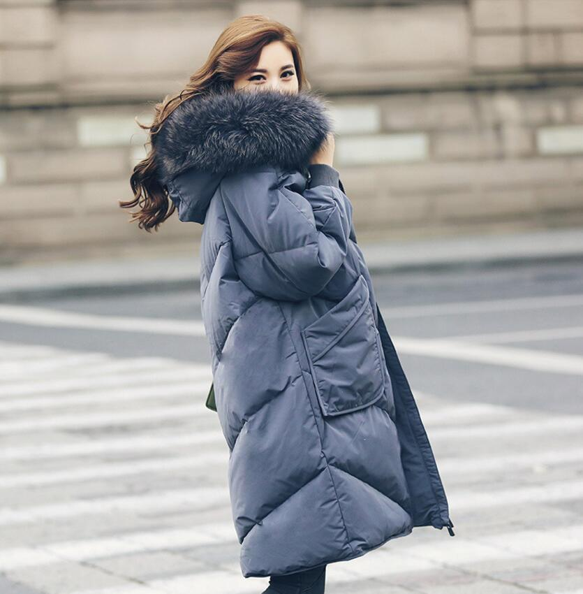 New winter Womens Down Jacket Long Section Big Raccoon Fur Hooded Female Coat Parka s1414 ...