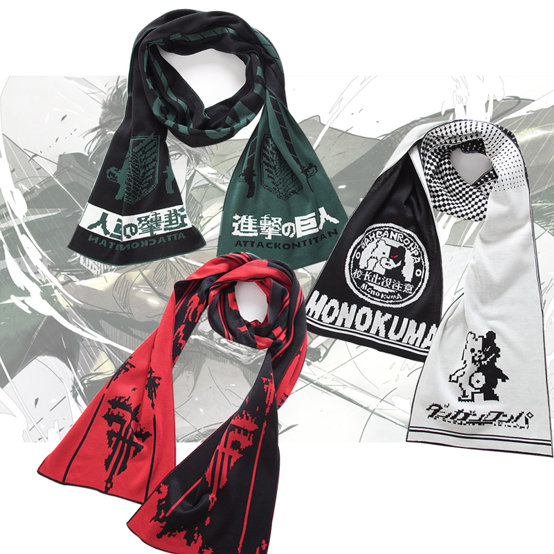 3Styles Anime Attack on Titan Danganronpa Monokuma Baka To Test To Shoukanjuu FFF Cosplay Costumes Scarf Shawl Cappa