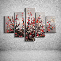 100 Hand Painted Oil Painting Modern Abstract Huge Wall Art Chinese Plum Flower Paintings On Canvas