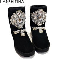 2018 Women Winter Rhinestones Warm Boots Genuine Leather Snow Boots Crystal Leather Shoes Feminina Australia Suede Ankle Botas