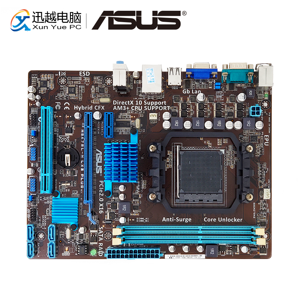 Asus M5A78L-M LX3 PLUS Desktop Motherboard 760G Socket AM3+ DDR3 16G SATA2 USB2.0 VGA COM Micro ATX used 100% original desktop motherboard for asus m5a78l m lx3 plus integrated graphics ddr3 am3 mainboard