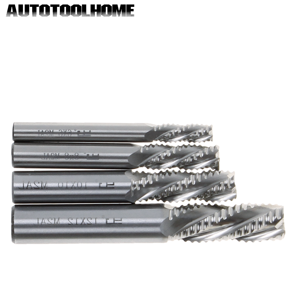 4 Flutes HSS Coarse Tooth Milling Cutter Straight Roughing End Mill Bits 6 8 10 12mm for Metal Steel CNC Lathe Machine HRC45 uxcell 10 pcs silver tone hss 3mm cutting dia straight shank helical groove 2 flutes milling cutter end mill end mill