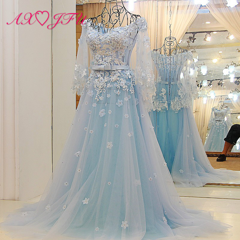 AXJFU new version of the Korean blue lace   evening     dress  , bride neat tail red   evening     dress   100% Real Pictures QSYS262