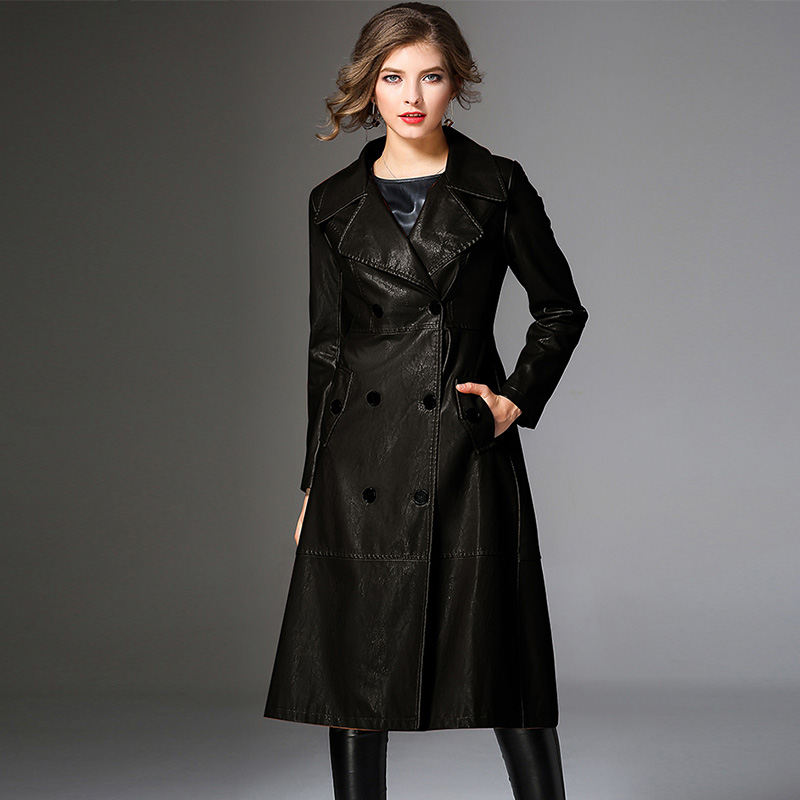 0e407beb4b8  +  Peritiny Women Coats Autumn Winter Top Quality Fashion Brand Double  Breasted PU Faux Leather Trench Coat for Women Outerwear-in Trench from  Women s ...