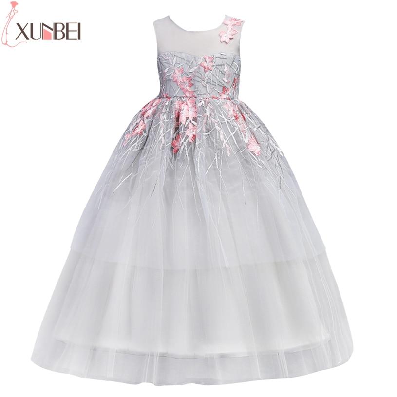 Pretty Ball Gown Flower Girl Dresses 2019 Blue Lace Embroidery Kids Prom Dress Little Girls Pageant Dresses vestido de daminha