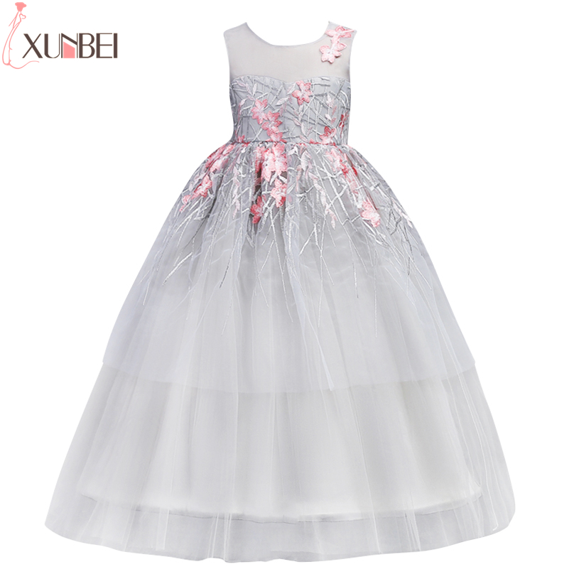 Pretty Ball Gown   Flower     Girl     Dresses   2019 Blue Lace Embroidery Kids Prom   Dress   Little   Girls   Pageant   Dresses   vestido de daminha