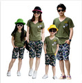 2017 family matching outfits mom daughter father son clothing set army green short sleeve V neck T shirts camouflage short pants