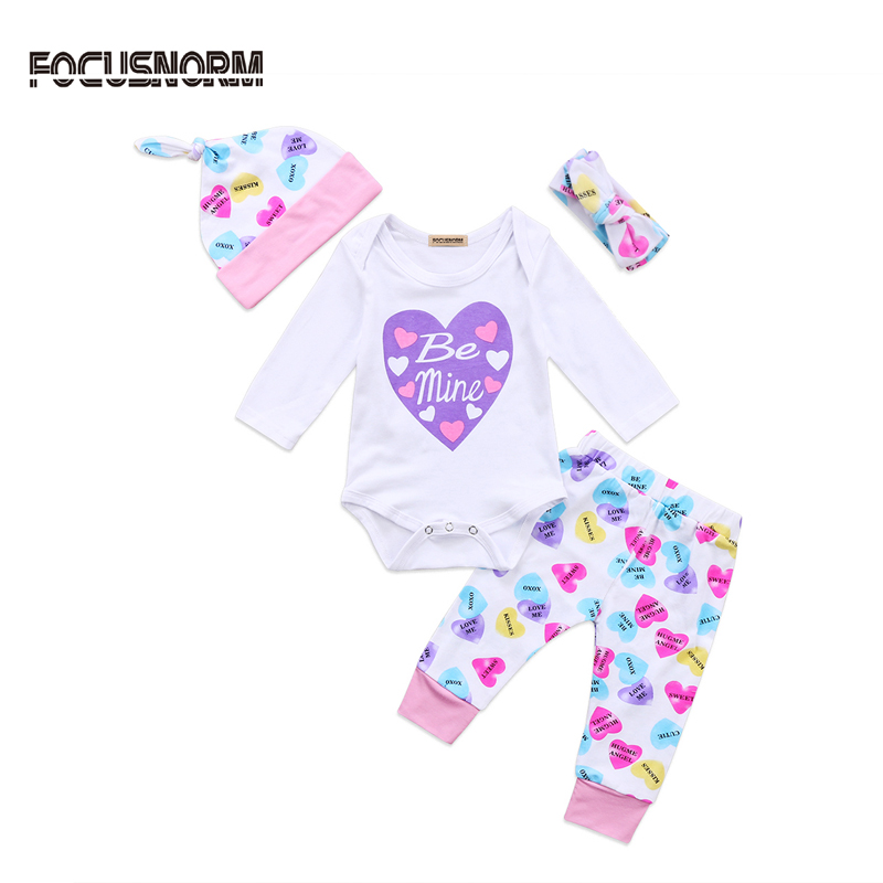2017 New Casual Infant Newborn Baby Girl Clothes Letter Romper Long Sleeve Jumpsuit +Pants Hat Clothes Outfit