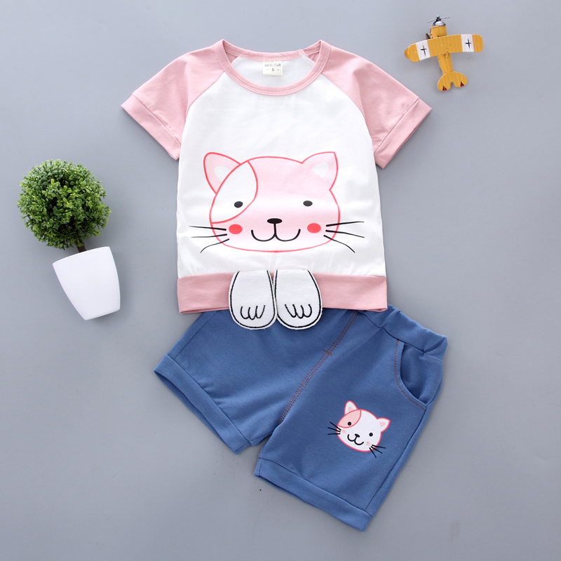 kid Girls clothes Baby Clothes Casual Cartoon Cat Pattern Short Sleeve Tops T shirt Shorts Suits Costume Set 2019 Summer in Clothing Sets from Mother Kids