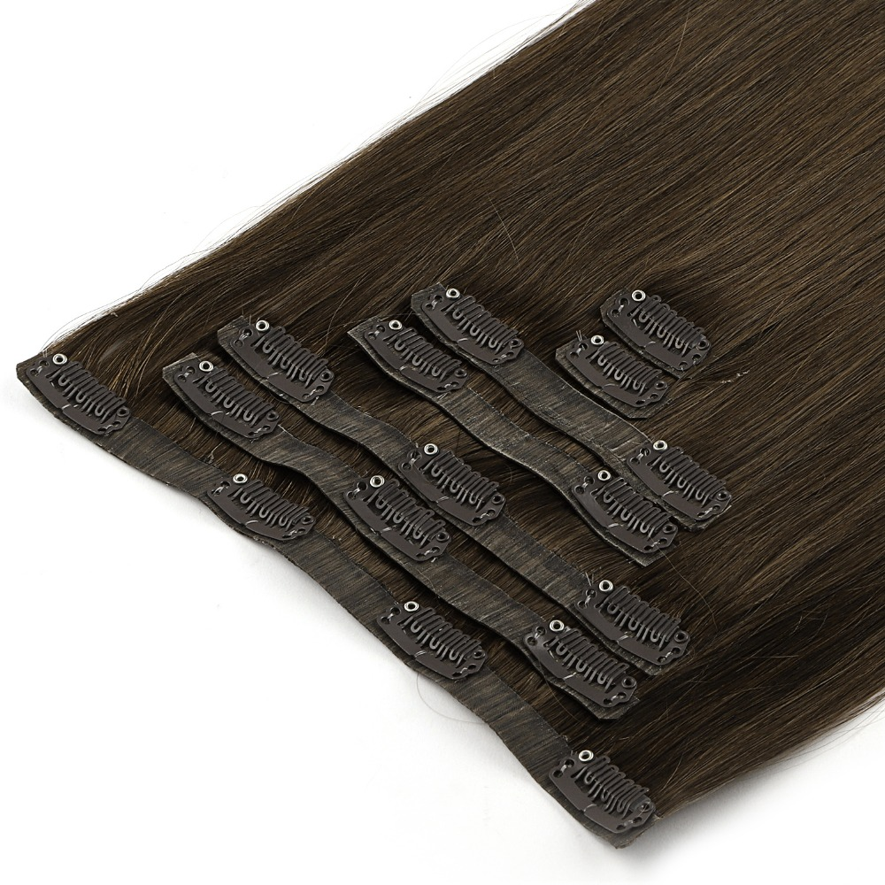 """Neitsi Pu Clip In Machine Made Remy Human Hair Extensions Double Weft 7pcs/Set 16clips Attachment 20"""" 50cm 100g/Set"""