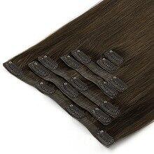 """Волосы Neitsi, зажим из полиуретана в фабричного производства Remy Пряди человеческих волос для наращивания из двойной уточной нити 7 шт./компл., 16 клипс крепления 2"""" 50 см 100 г/компл"""