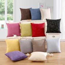 цена Solid Color Cushion Cover Home&Car Decor Pillowcase BlueThrow Pillows Home Decorative Cushion Cover cojines decorativos онлайн в 2017 году