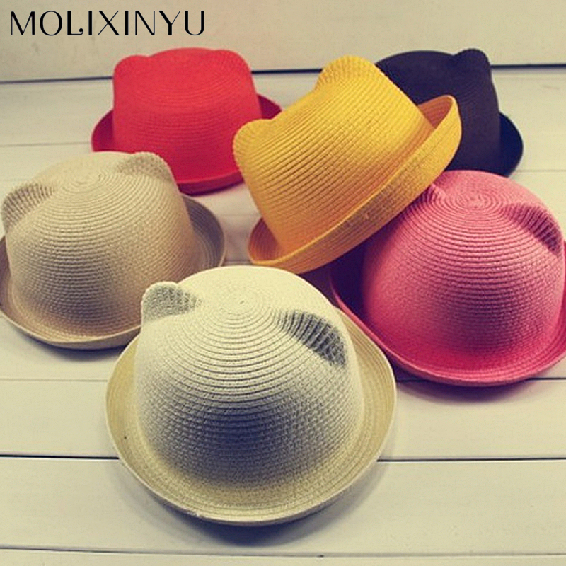 c2ae4437090 MOLIXINYU Fashion Ears Straw Hats Baby Hats For Girls Bucket Hat Boys Cap  Children Sun Summer Cap Kids Solid Beach Panama Caps