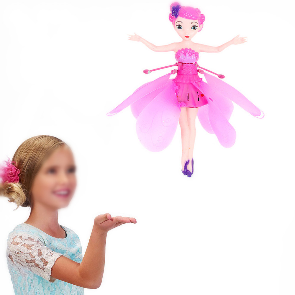купить Funny Flying Fairy Dolls Toy Infrared Induction Control Flying Angel Dolls For Girls Remote Control Flying Electronic Toys Kids по цене 566.42 рублей