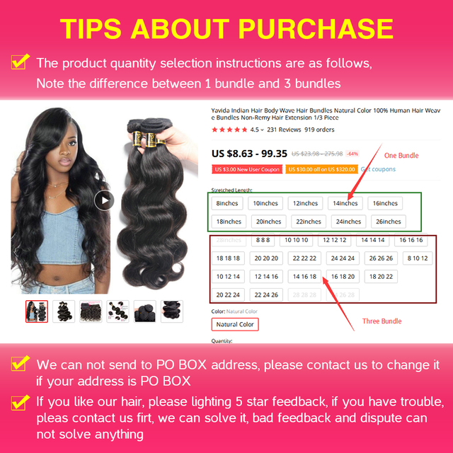 Yavida Hair Peruvian Body Wave Hair Bundles Natural Color 100% Human Hair Weave Bundles 8-30inch  Non-remy Hair 1/3 Piece