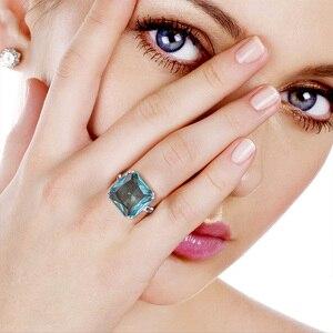 Image 2 - Szjinao תרשיש טבעת כסף 925 לנשים אמיתי 925 סטרלינג כסף בציר טבעות פנינה גדולה כחול אבן פיין תכשיטי חג המולד