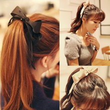 Sale Girl Elastic Hair Bands Large Bowknot Ribbon Bow Rope Women Headwear Accessories