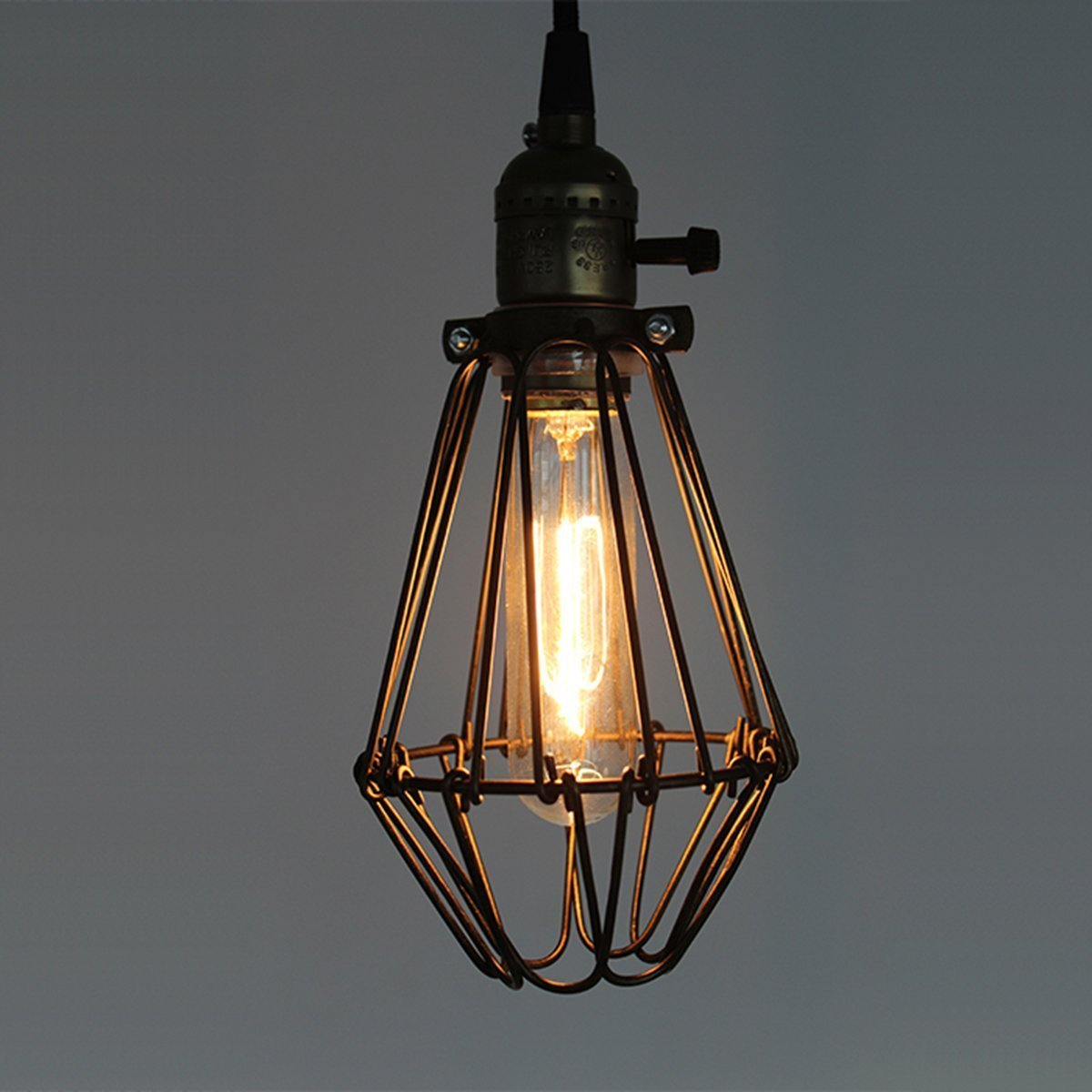 Ecopower Vintage Style Industrial Opening and Closing Hanging Light Pendant Lamp Wire Cage Lamp Guard