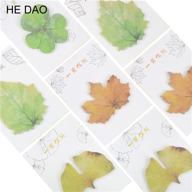 Refreshing Style Cute Kawaii Paper Sticky Memo Pad Creative Maple Leaf Post It Note For Children Gift School Stationery Supplies