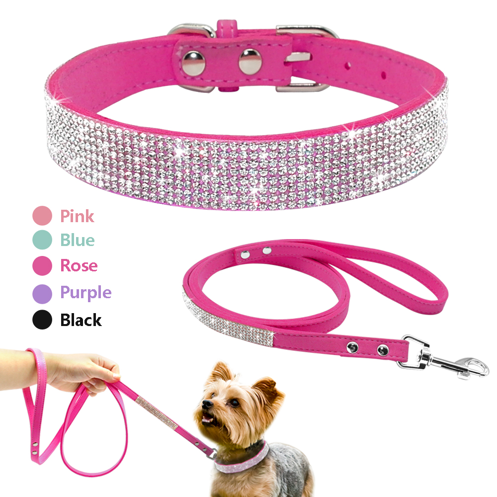 Didog Suede Leather Puppy Dog Collar Leash Set Adjustable Rhinestone Cat Collars Walking Leashes For Small Medium Pets XS S M