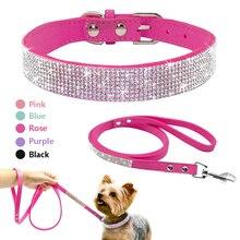 Cute, hot bling rhinestone PU leather puppy collar