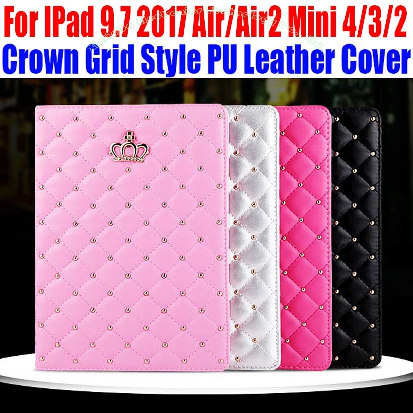 Smart Case For IPad 9.7 2017 Air/Air2 For iPad mini 4/3/2/1 Fashion Crown Grid Style PU Leather Cover for iPad 4/3/2 IM411 retro style cards slot wallet bag smart cover pu leather case for ipad mini 4 3 2 1 im426