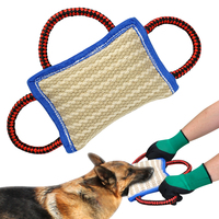 3 Handles Dog Bite Toy Pet Training Tools Dog Bite Rope Tug Jute Pillow Durable For Large Dogs K9 Labrador German Shepherd