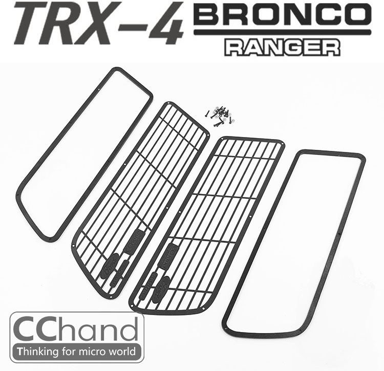 Metal side window guard protective net BRONCO Ford For 1/10 Scale TRX4 T4 TRAXXAS D110 Defender TACTICAL UNIT CRAWLER hpi king 1973 ford bronco