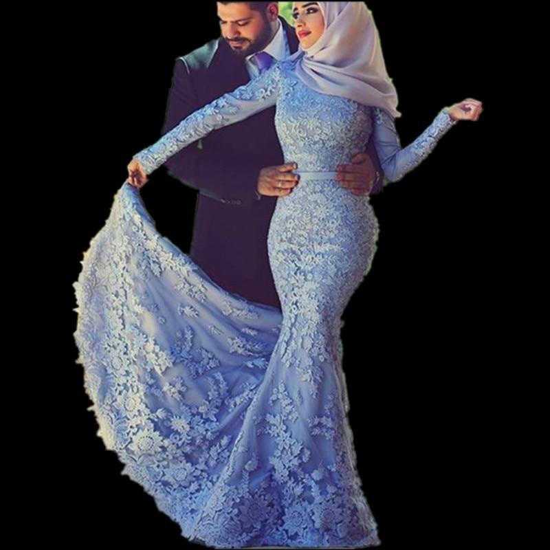 Long Sleeve Mermaid Lace Lslamic Wedding Gowns Indian Saree Arabic Bridal Dresse