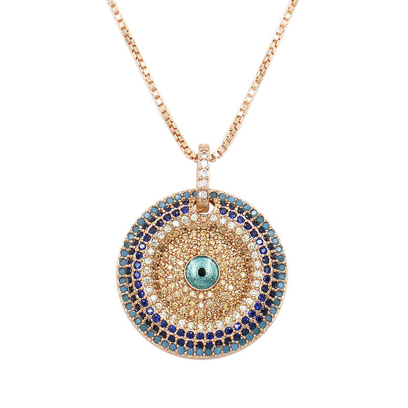 WEIMANJINGDIAN New Arrival Cubic Zirconia Micro Pave Round CZ Zircon Evil Eye Pendant Necklace for Women or Party