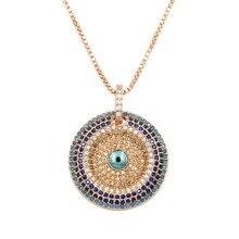 WEIMANJINGDIAN – collier en zircone cubique, Micro pavé rond en Zircon CZ, pendentif mauvais œil pour femmes ou fête