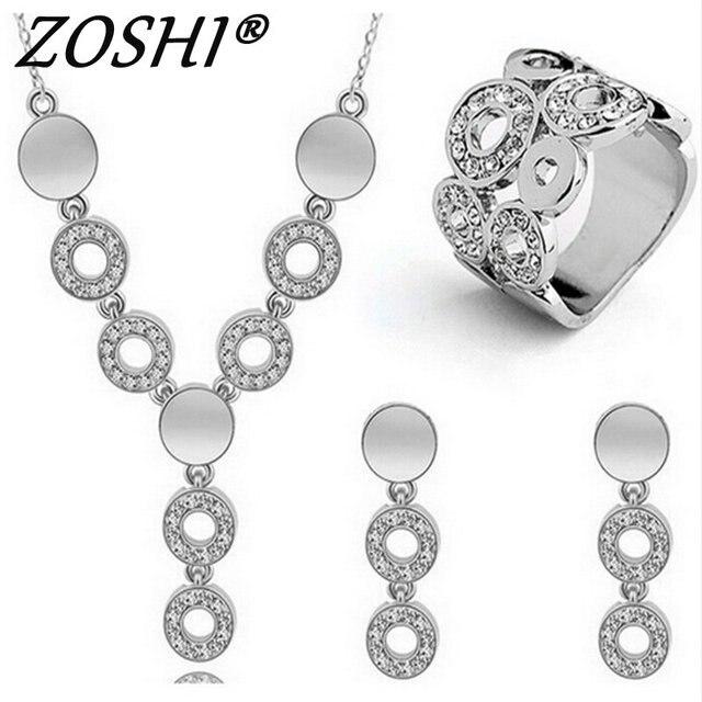 אופנה אוסטרי קריסטל זהב כסף PlatedJewerly סטים לנשים עין חתול אבנים תכשיטים אפריקאים שרשרת עגילי טבעת סט