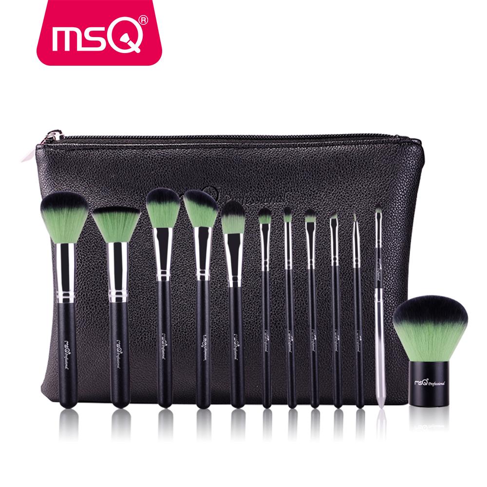 MSQ 12Pcs Makeup Brushes Set Powder Foundation Eyeshadow Make Up Brush Professional Cosmetics Beauty Tool With PU Leather Case professional 32pcs makeup brushes cosmetic make up powder foundation brush set cosmetics tools with leather bag beauty tool 2016