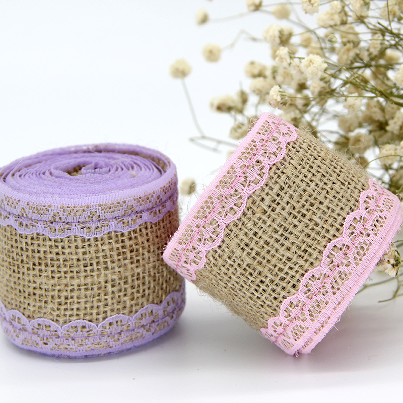 2M/Roll Wedding Birthday Party Decorations Lace Linen Home DIY Adorn Hemp Rope Clothes Lace Gift Packaging Flower Shop Supplies
