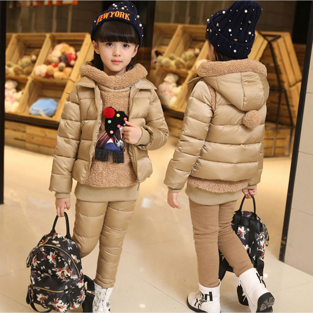 Russia Girls Winter Warm Clothing Set Hooded Vest Jacket+Warm top Cotton Pants 3 Pieces Set Girl Cotton Coat With Warm Hood